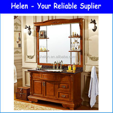 Free Standing Luxury Modern Bathroom Vanities Chestnut Colour Oak Wood Cabinet With Mirror Shelf Z-906