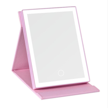 In stock Portable LED Lighted Touch Screen Foldable Desktop Makeup Cosmetic Mirror