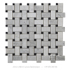 25x48 hot sale nero marquina and carrara basketweave marble mosaic