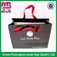 specialized in color printing fashion promotion paper bag with inner poly liner