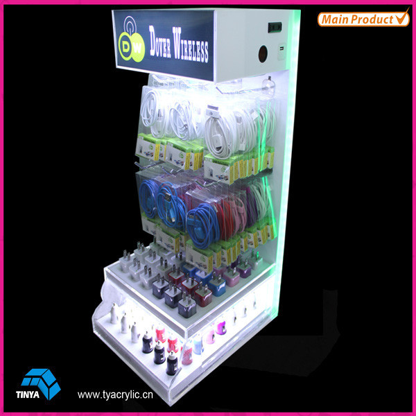 China Manufacturer Cable Display Rack/Retail Store Car Charger Display Rack Cell Phone Accessory Display Stand Wholesale