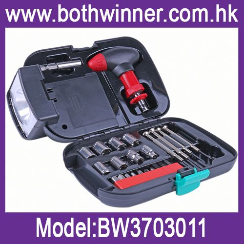 Torch tool kit h0tVv mechanical tools set with led flashlight for sale