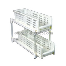 2-Tier Sliding Shelves Storage Drawer Organizer Plastic Drawer