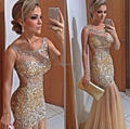 Backless Sexy 2017 Evening Dresses Sheer Neck Sequins Mermaid Long Tulle Custom Made Formal Gold Sheer Pageant Evening Gown