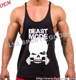 High quality 100% cotton wholesale sleeveless custom gym stringer vest