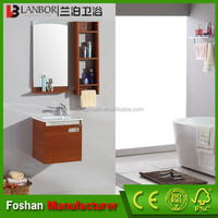 LANBOR New design Mini wall mounted home depot germicidal melamine plywood bathroom vanity cabinet with conceal handle NT052
