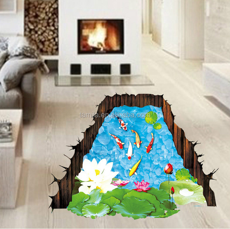 3D Fish Pond Floor Wall Stickers PVC Cartoon Ground Stickers Environmental Protection Waterproof sticker