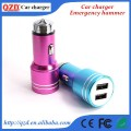 Emergency Safety Hammer Stainless Steel Dual USB Car Charger for mobile phone/tablet