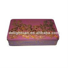 Rectangular chocolate tin/metal box/can with embossed lid