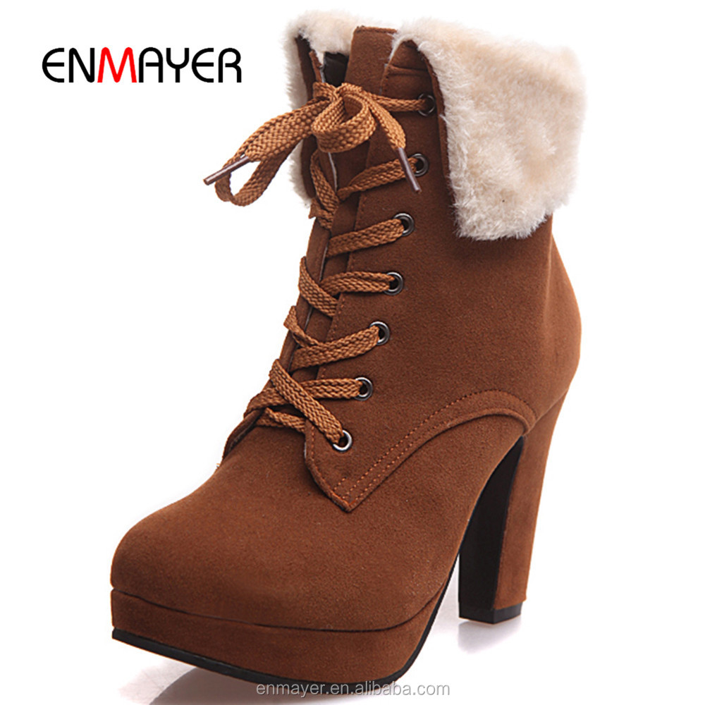 Lastest arrival snow boots women sweet platform ladies high heel winter boots fashion lace up ankle boots