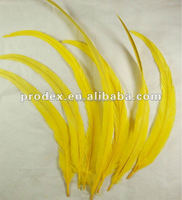 Yellow rooster tail feather long saddle hackle feathers cock tail feather