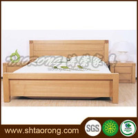 New natural color wooden bedroom double bed