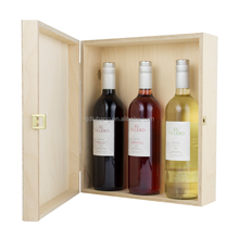 Good quality cheap 3 bottle wooden hinged wooden wine bottle box for sale