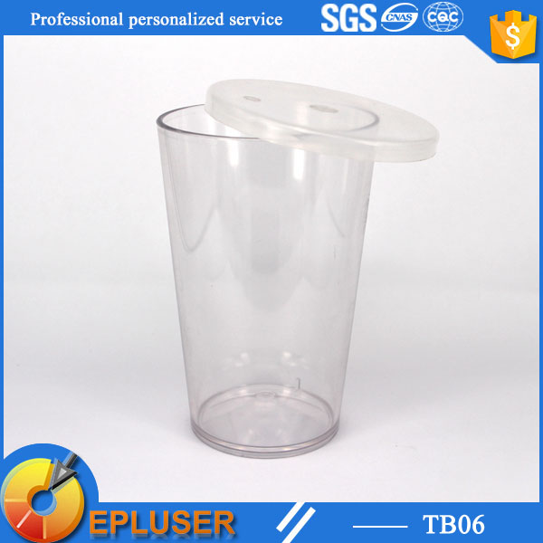 Beverage use plastic clear cups with lid and straw