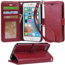 For iPhone 8 Genuine Leather Wallet Flip Case , For iPhone 8 Cell Phone Case