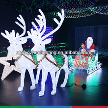 LED christmas motif light with deer and Santa Claus, motif light christmas decoration
