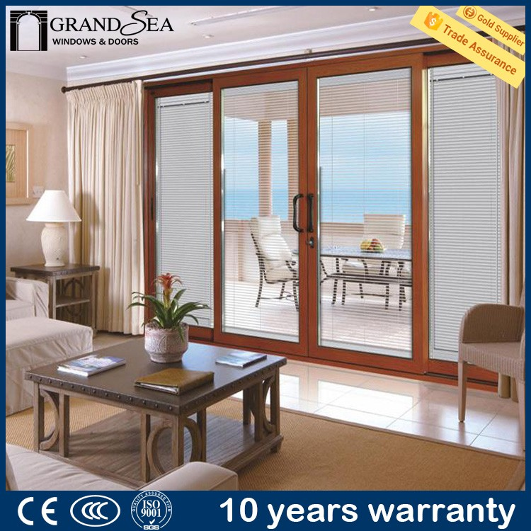 Competitive price partition french style solid wooden sliding closet door with fly screen