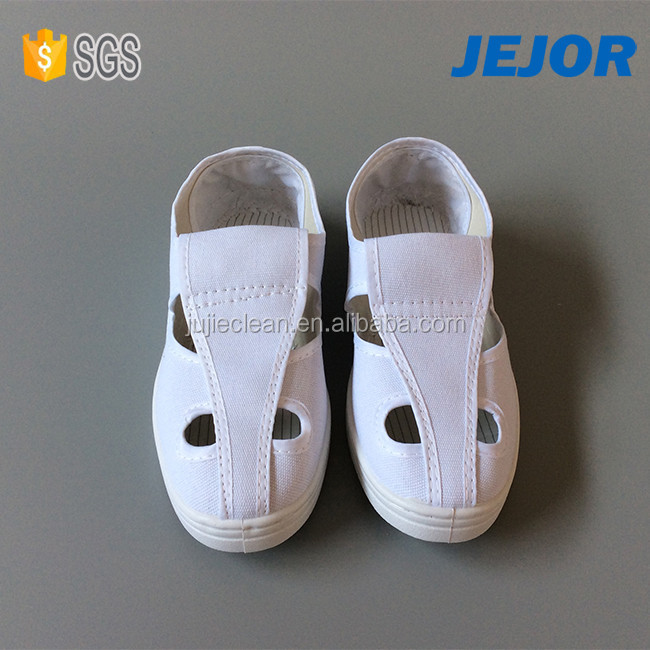 PU PVC Sole White 4Holes Esd Protective Canvas Shoes