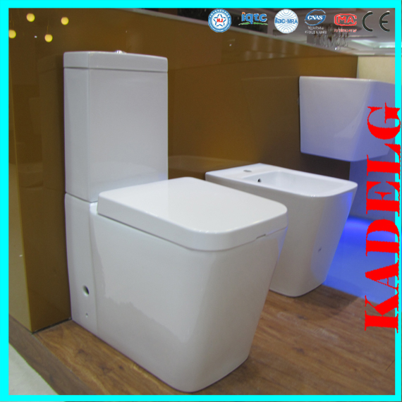 Dual flush large size two piece toilet square WC water closet