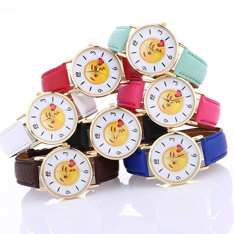 Emoji Wrist Watches for Women Girls Bracelet Strap Alloy Women Watch Emoji Clock Couples Watch Relogio