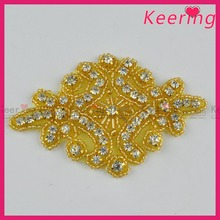 wholesale gold iron on rhinestone dance appliques for sash WRA-852