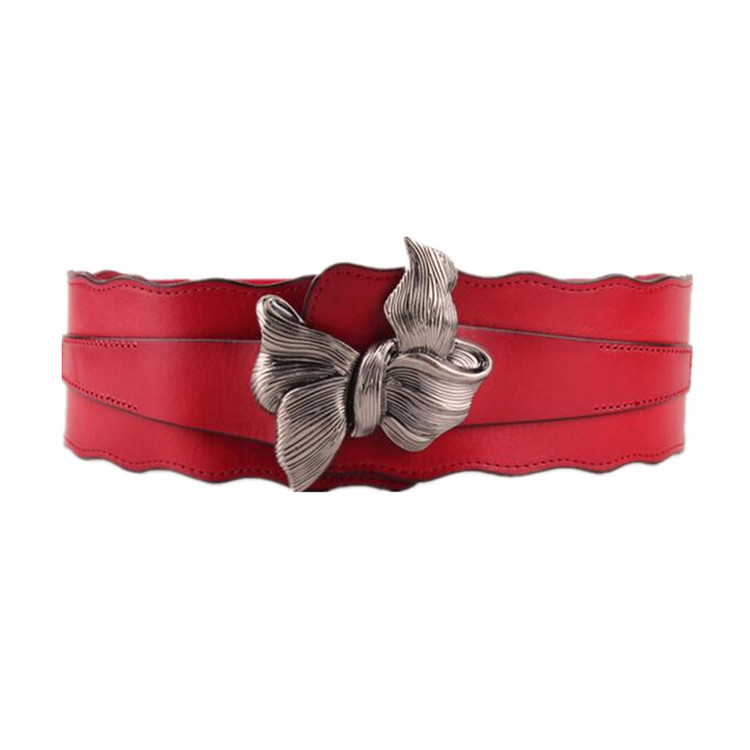 Alloy Bow Buckle Elastic Decorated Leather Wide Waist Belt