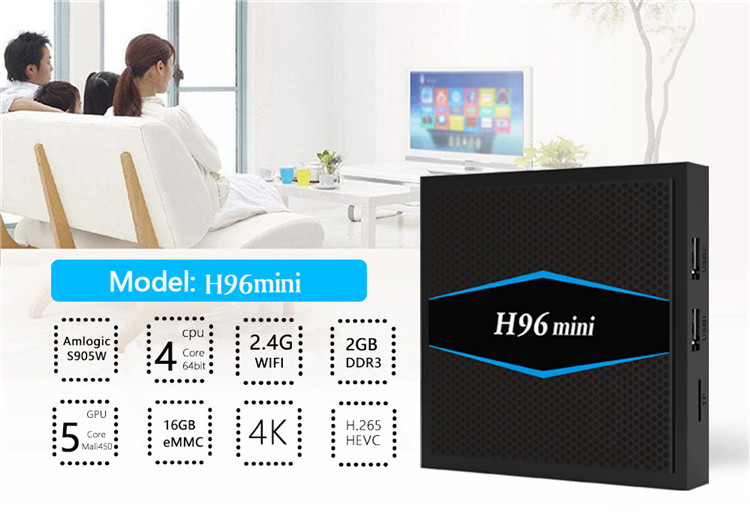 2019 H96 MINI S905W  Android TV BOX of  New product 2G 16G Set top box with low price KD Player 17.0 TV BOX