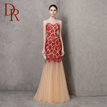 high-end sequins embroidered red hottest organza mermaid transparent OEM service wedding dresses by crystal trade co. ltd