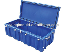Rotomolding plastic outdoor tool box with hinged lid