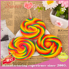ISO Certification and Sweet Taste Rainbow Handmade Swirl Lollipops Candy