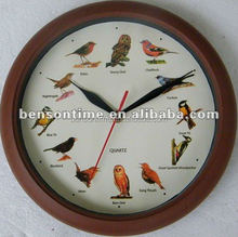 Cason wooden finish frame bird sound wall clock