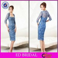 EDM004 Beautiful Light Blue Beaded Long Sleeve Mother of the Bride Dresses Lace Knee Length