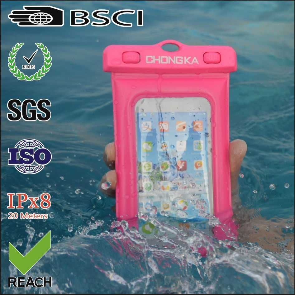 2015 wholesale pink waterproof cover for iphone/waterproof bag for iphone 5