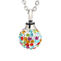 Marlary Jewelry Design Colorful Memorial Jewelry Crystal Around Stainless Steel Ball Cremation Pendant