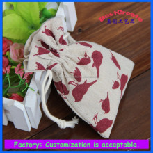 top quality bird logo printing cotton bag, red bird printed cotton bag,lovely cotton drawstring bag