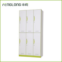 6 compartment steel storage locker wardrobe cabinet with hanging rod