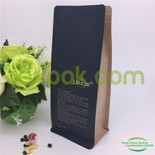 Customized side gusset kraft paper coffee bags with valve and zip top