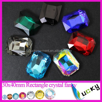 largest stones 30x40mm rectangle crystal fancy stone point back rhinestones all colors available