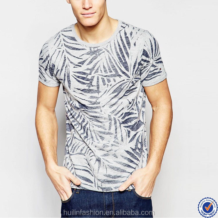 online wholesale shop men t-shirt print design 100% cotton short sleeve leaves printing t shirt
