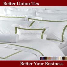 300T plain white cotton embroidery bed cover designs for star hotels or home