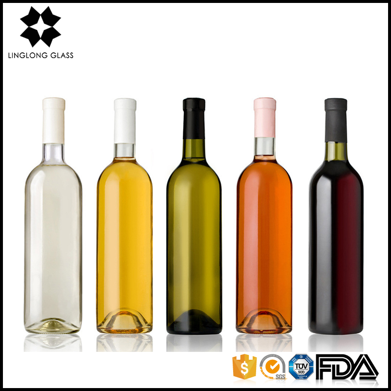 Wholesale custom empty 520ml - 750ml color screw top wine glass bottle