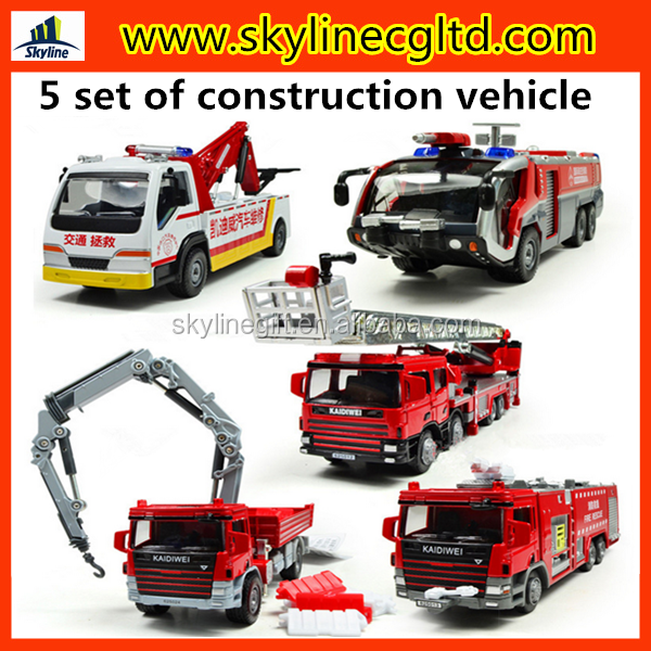 High quality 5 set of die cast model toy, construction vehicle die cast truck model