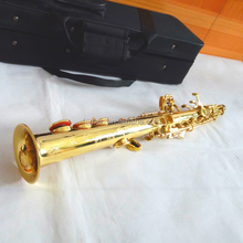 Gold laquer straight soprano saxophone cheap brass saxophone