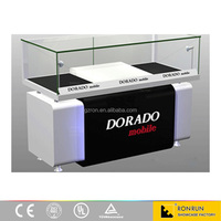 Newest electronic and mobile store glass display counter and showcase furniture