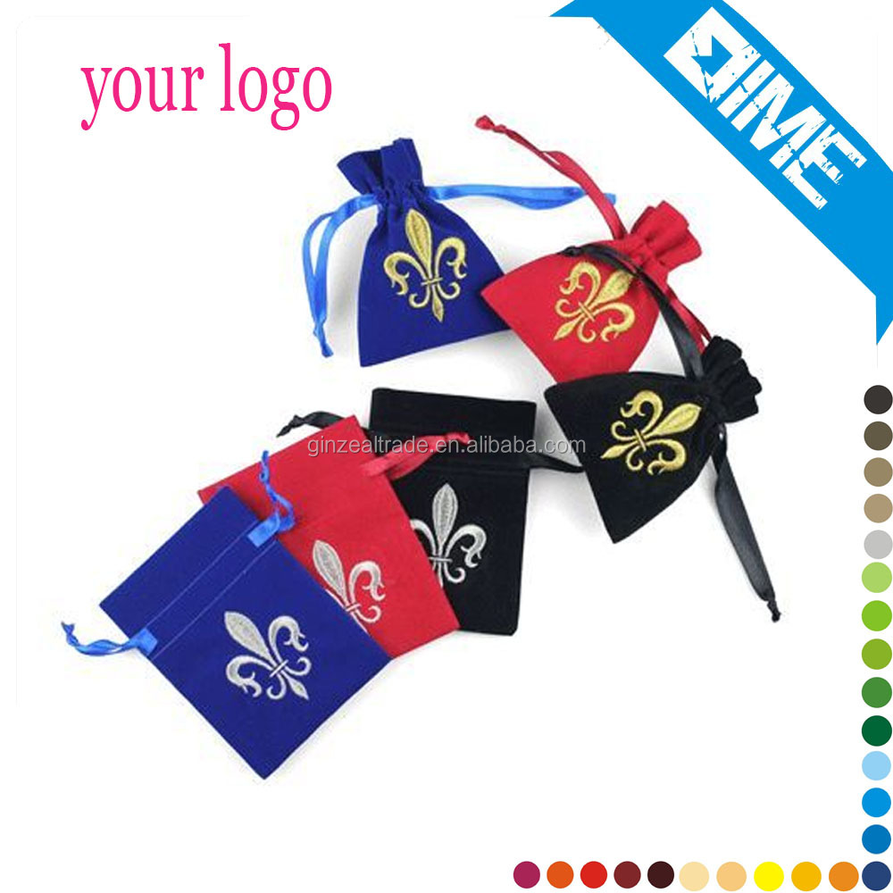 2017 Top Quality OEM Cheap Custom Logo Velvet Pouch