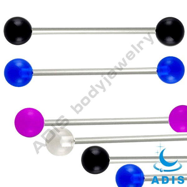 Acrylic ball solid color non piercing vibrating piercing barbell tongue ring