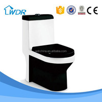 Black color wc ceramic s-trap bathroom one-piece combustion sitting toilet
