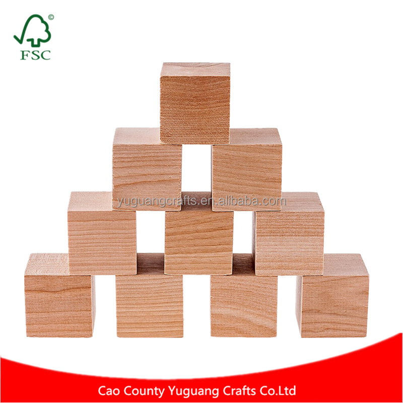 Factory Custom Made 32 pcs 1.5 Inch Plain Blank Natural Unfinished Pine Wooden DIY Blocks Mini Wood Cubes