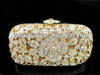 A6158 Crystal metal Lady Fashion Floral Rose Flower Bridal Wedding hard clutch bag Evening purse handbag case