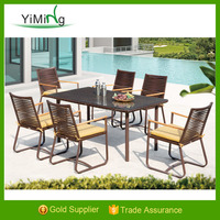 New design Ohio french style Artificial wicker Restaurant dining table and Teak arm chairs KD funiture
